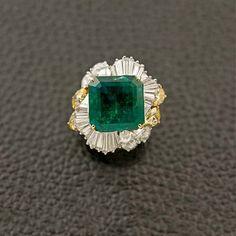 Emerald & Diamond Ballerina Style Ring