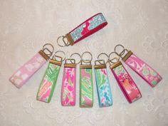 Preppy Lilly Pulitzer Fabric Key Chain Keyring in by marinascloset, $8.00