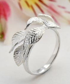 Look what I found on #zulily! Sterling Silver Adjustable Laurel Leaf Ring #zulilyfinds