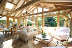 Oak Garden Room with skylights, a glazed gable and oak French doors #gardenroom #oak #oakframed #luxuryliving