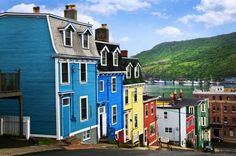BEAUTIFUL SCENE - ST JOHN'S, NEWFOUNDLAND, CANADA North America's oldest city, the seaside town is famous for Jellybean Row, which features a cluster of colourful historic houses. There are various stories behind the bright paint job with some claiming th Newfoundland Canada, Newfoundland And Labrador, Newfoundland St Johns, Cabot Trail, Ottawa, Barbados, Jamaica, Trinidad, Oh The Places You'll Go