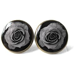 90s Style Internet Culture Creepy Cute Black Rose Stud Earrings,... ($10) ❤ liked on Polyvore featuring jewelry, earrings, rose earrings, gothic earrings, pastel jewelry, rose stud earrings and pastel goth jewelry