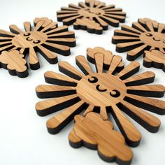 Bamboo Happy Sun Coasters Wood Kawaii by graphicspaceswood on Etsy, $38.00