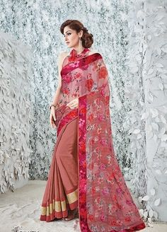 Buy Light brown and Red Saree from shayona junction.Leading online store to buy latest designer sarees and designer sari online USA,India.