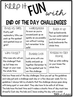 Freebie: Add some 'zen' to the end of your day with these fun challenges for students. They are motivating and help you and your students leave at the end of the day with a smile! Check out more about end of the day routines in my post HERE