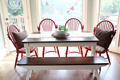 Those chairs with refinished table and awesome $15 Goodwill bench.  (This table is like yours Amy!)