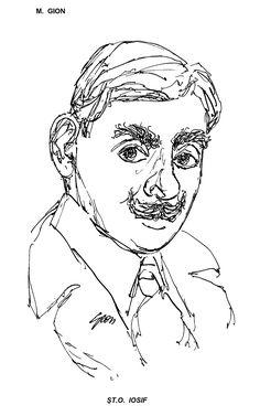 ST. O. IOSIF  Desen de M. GION, publicat in almanahul PERPETUUM COMIC '97 editat de URZICA, revista de satira si umor din Romania