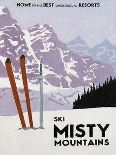 Vintage Misty Mountains ski poster by stevethomasart