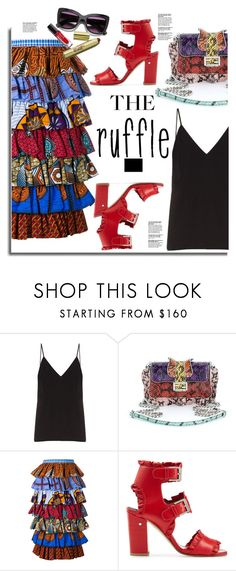 """""""All Ruffled Up"""" by hamaly ❤ liked on Polyvore featuring Raey, Fendi, Stella Jean, Laurence Dacade, Barneys New York, ootd, skirts, summerstyle and ruffles"""