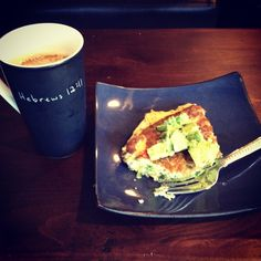 Wednesday AM Power Start: 2 egg veggie frittata with green onion, arugula, tomato, avocado and a bulletproof coffee!