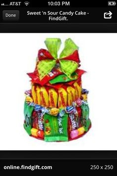 Not to worry, this Sweet n Sour Candy Cake omits the chocolate and uses other candy confections like starburst, skittles, Mike and Ike, etc. Candy Bar Bouquet, Cookie Bouquet, Candy Cakes, Cupcake Cakes, Cupcakes, Homemade Gifts, Diy Gifts, Chocolates, Mike And Ike