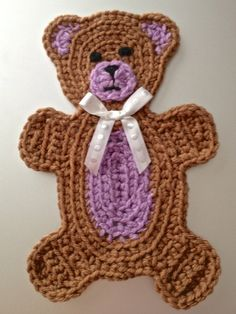 Beary Cute Teddy Bear Applique Crochet by TheBlueStarBoutique