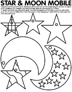 Moppets Lesson for November Everyone is Important. Craft: Take Home Star and Moon Mobile - Star and Moon Mobile coloring page Eid Crafts, Ramadan Crafts, Ramadan Decorations, Ramadan Activities, Space Activities, Craft Activities, Shape Templates, Templates Printable Free, Free Printables