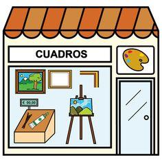 Pictogramas ARASAAC - Tienda de cuadros. Paper Doll House, Paper Dolls, Community Places, Montessori Materials, Pretend Play, Spanish, Homeschool, Flashcard, Fine Art