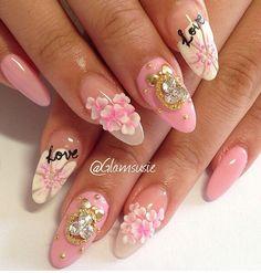 #pink #flower#rhinestones #almond #acrylic #gel#nails
