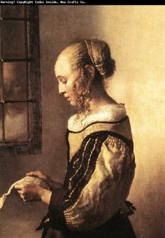 Jan Girl Reading a Letter at an Open Window (detail)