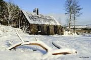 Old scout hut in the snowy Comeragh Mountains, County Waterford, Ireland
