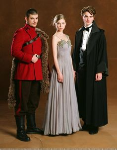 Stanislav Ianevski, Clemence Posey, and Robert Pattinson as Viktor Krum, Fleur Delacour, and Cedric Diggory in Harry Potter and the Goblet of Fire (2005)