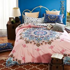 Blue luxury bed linen set home textile bedding comforter+coverlet+pillowcase+quilt cover king queen size cotton alibaba-express