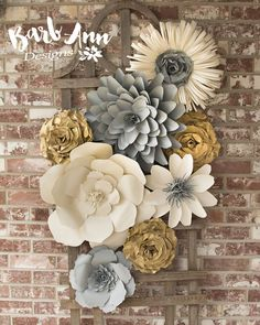 Gorgeous paper flowers   flower wall   floral wall   paper art   wedding decor   nursery decor   home decor   paper
