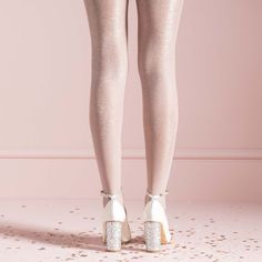 07b96c9a9d Eve, glitter block heel with ivory leather detail by Charlotte Mills  Wedding Shoes Heels,