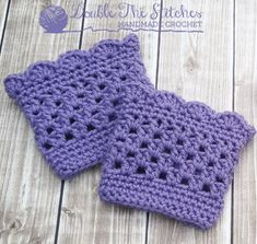 Handmade Crochet Boot Cuffs in Toddler or Child Size    Width and length and color can all be customized.    Shown in Lavender      Adult sizes also available for an additional cost.