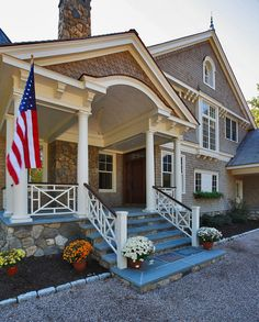 Shingle Style Home Architecture -- Love the porch -- designed by Country Cub Homes