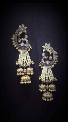 Welcome - Jaipur Polki House Indian Jewelry Earrings, Indian Wedding Jewelry, Ear Jewelry, Bridal Earrings, Bridal Jewelry, Jewelery, Peacock Earrings, Fancy Jewellery, Girls Jewelry