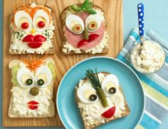 Kids' party food ideas, Throwing a kids' party? You'll need fun, quick and easy kids' party food ideas and recipes, especially picked out for little hands (and with no-fuss prep! Kid Sandwiches, Delicious Sandwiches, Open Faced Sandwich, Fussy Eaters, Edible Food, How To Eat Better, Food Humor, Funny Food, Sandwich Recipes