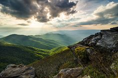 Blue Ridge Mountains NC Craggy Pinnacle Rays  #FineArtPrint #landscape #mountains #sunrays