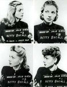 """Before there was Lauren Bacall and The Look there was Betty and four different hair styles. Makeup and hair style ideas for Lauren Bacall for the movie """"To Have and Have Not"""". Lauren Bacall, Old Hollywood Glamour, Vintage Hollywood, Classic Hollywood, Hollywood Cinema, Hollywood Star, 1940s Hairstyles, Dress Hairstyles, Hairdos"""