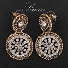 EC038 EC039 2015  Luxury Austrian Czech Crystal Rhinestone Vintage Gold Silver Dangle Drop  Earrings Jewelry Gift For Women