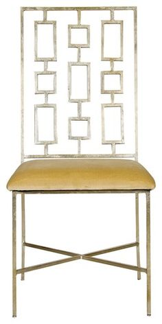 Worlds Away David Silver - Leafed Dining Chair