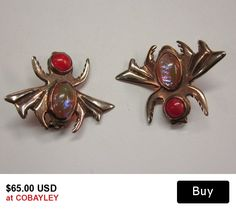 Vintage Silver Bug Pins Dragons Breath Opal Glass  From Mexico