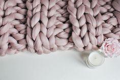 Giant Knit Blanket Mink Knit Throw Chunky Knit Throw Blush