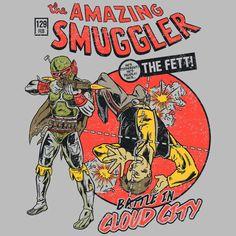 """Amazing Smuggler"" by Adam Works is $10 today at ShirtPunch.com (10/24). #tshirt #StarWars #BobaFett #HanSolo #TheAmazingSpiderman #ThePunisher #Comics"