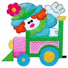 ch109 - Circus Clown on Train Machine Embroidery Design