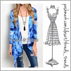 Shades Of Blue Tie Dye Cardi So fun and right on trend tie dye open Cardi sweater in shade of blues. Asymmetrical hemline.  Made of cotton/poly spandex blend. Size S, M, L Threads & Trends Sweaters Cardigans