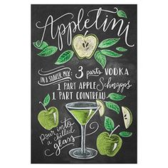 artboxONE Poster Typography Appletini cm design art print by Lily & Val Cocktail Drinks, Alcoholic Drinks, Beverages, Party Drinks, Gin, Vodka, Recipe Drawing, Lily And Val, Cocktail Recipes