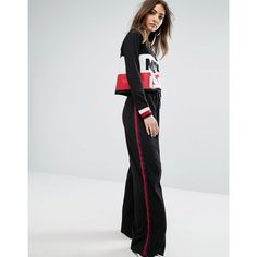 Daisy Street Wide Leg Joggers With Sports Stripe (46 AUD) ❤ liked on Polyvore featuring activewear, activewear pants, black, tall sweat pants, sports sweatpants, sport sweatpants, sports activewear and tall sweatpants
