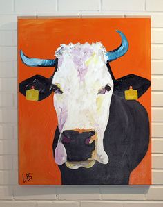 Cow Painting Large Colorful Canvas Art 24x30 by Logan Berard