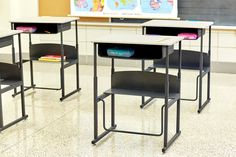 The AlphaBetter Desk featuring the patented Swinging Pendulum Footrest Bar from Safco Products