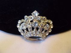 Crown Brooch Diamante Rhinestone Glass Vintage Jewelry Silver Plate Pin 1950s #Unbranded