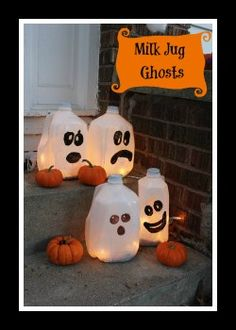 Recycle those old milk jugs with this cool Kids craft for Halloween this year! Happy Haunting  Maybe with stickers or pre-cut the  shapes out if construction paper for them to glue/mod podge on?