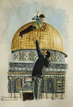 #Free _ palestine Palestine Art, Palestine History, Terra Santa, Islamic Cartoon, Dome Of The Rock, Anime Muslim, Israel, Islamic Girl, Princess Drawings