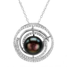 Nice Circle Necklace With 2.80ct TW Cubic zirconia and 12.0mm Freshwater Pearl Made of 925 Sterling silver. Total item weight: 6.6g. Length: 18in.