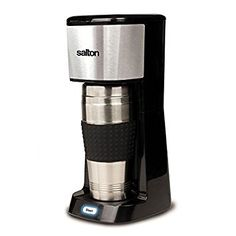 Salton Travel Single Serve Coffee Maker + stainless steel thermal mug + permanent filter + illuminated switch with auto shut-off
