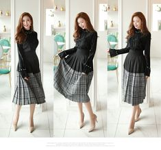 Korean Women`s Fashion Shopping Mall, Styleonme. Sexy Skirt, Lace Skirt, Pretty Asian, Korean Model, Office Fashion, Asian Woman, Korean Fashion, Bell Sleeves, Women Wear