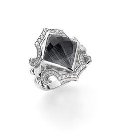 Stephen Webster Sterling Silver and Grey Cat's Eye Crystal Haze Superstud Ring with White Diamonds.
