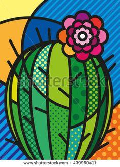Pop Art Modern Vector Illustration Cactus for your design art garden indoor plants Illustration Cactus, Cactus Art, Cactus Plants, Cactus Decor, Cactus Painting, Painted Flower Pots, Pop Art Design, Rock Art, Diy Art